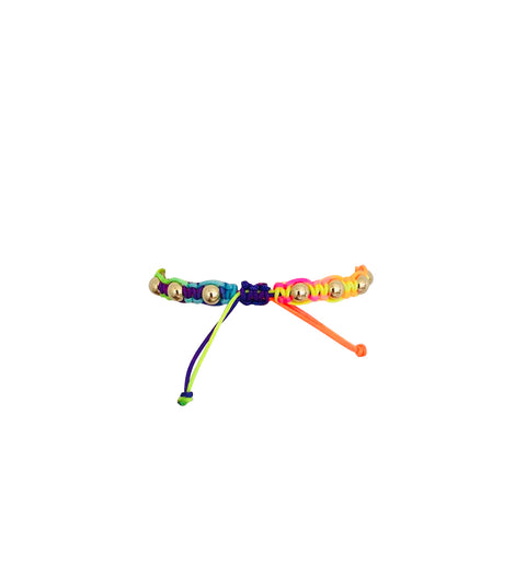 Rainbow Macrame Bracelet with Yellow Gold Filled Beads