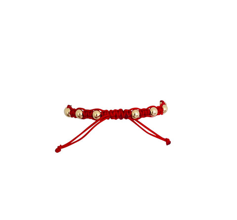 Red Macrame Bracelet with Yellow Gold Filled Beads