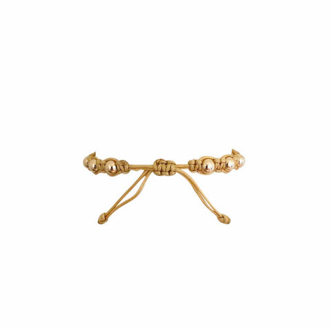 Sandy Beach Macrame Bracelet with Yellow Gold Filled Beads
