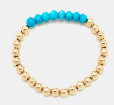 5MM Yellow Gold Filled Bracelet with Turquoise