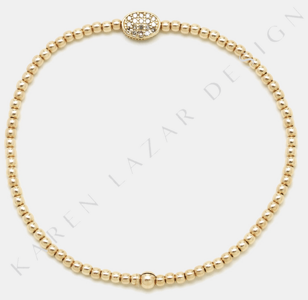 2MM Yellow Gold Filled Bracelet with 14K Diamond Bean