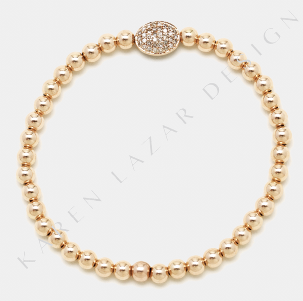 4MM Rose Gold Filled Bracelet with 14K Diamond Bean