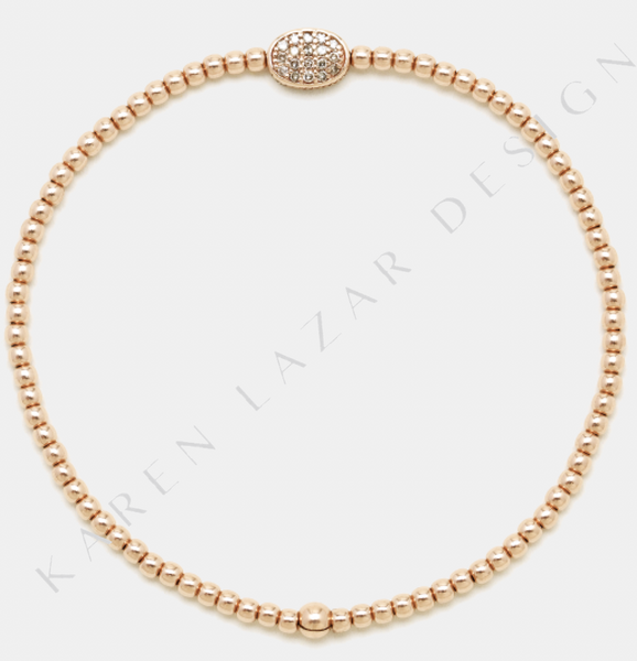 2MM Rose Gold Filled Bracelet with 14K Diamond Bean