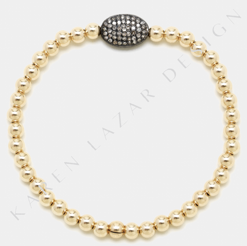 4MM Yellow Gold Filled Bracelet with Sterling Silver Oxidized Diamond Bean