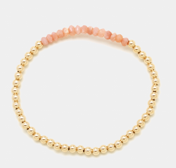 3MM Yellow Gold Filled Bracelet with Pink Opal