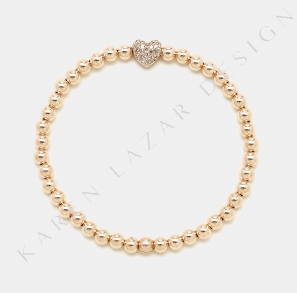 4MM Rose Gold Filled Bracelet with 14K Diamond Heart Bead