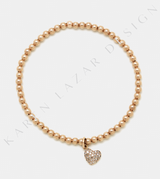 3MM Rose Gold Filled Bracelet with 14K Diamond Heart Charm