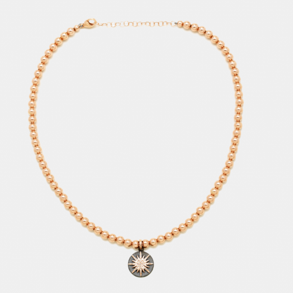 5MM Rose Gold Filled Necklace with 14K Diamond on Sterling Silver Oxidized Disc
