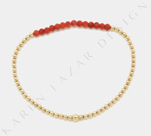 2MM Yellow Gold Filled Bracelet with Red Coral