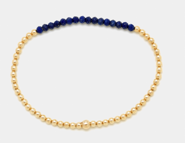 2MM Yellow Gold Filled Bracelet with Lapis