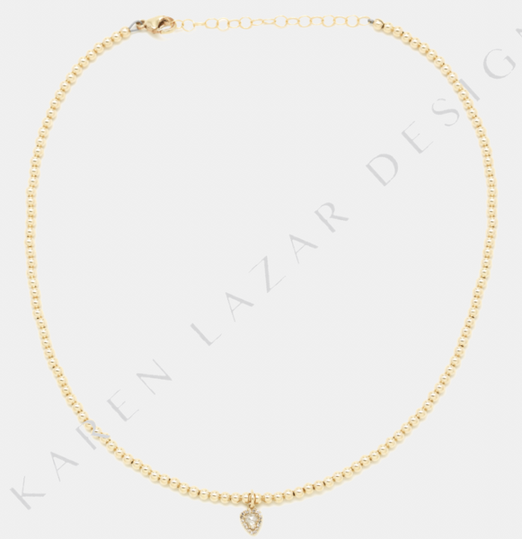 3MM Yellow Gold Filled Necklace with 14K Diamond Briolette Drop