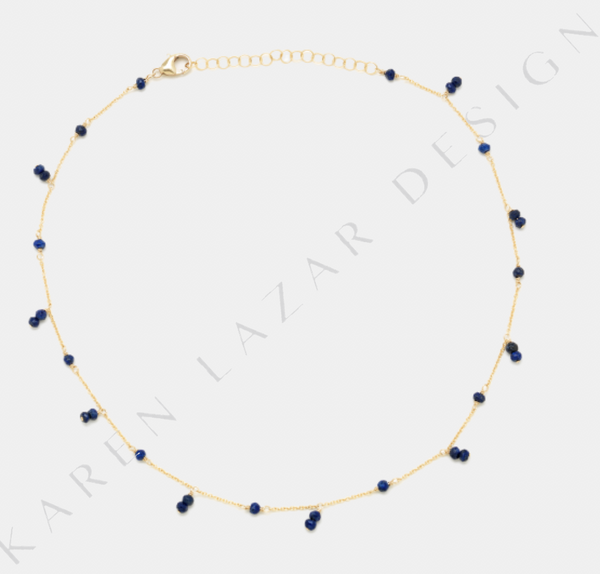 Yellow Gold Filled Necklace with Lapis Drop