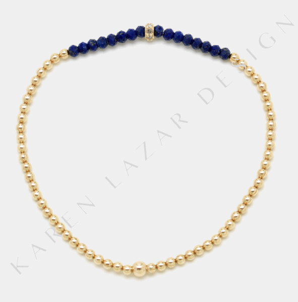 2MM Yellow Gold Filled Bracelet with Lapis and Diamond Rondelle