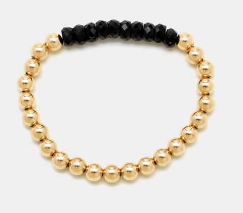 5MM Yellow Gold Filled Bracelet with Black Spinel