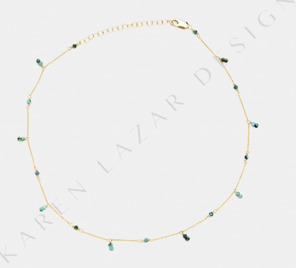 Yellow Gold Filled Necklace with Turquoise Pattern