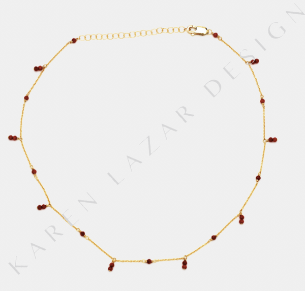 Yellow Gold Filled Necklace with Red Coral