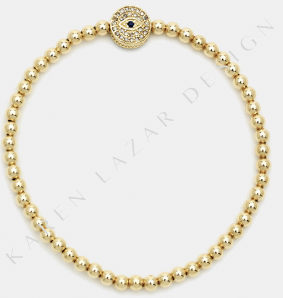 3MM Yellow Gold Filled Bracelet with Pave Diamond/Sapphire Evil Eye