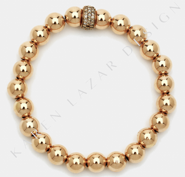 7MM Rose Gold Filled Bracelet with 14K Diamond Rondelle