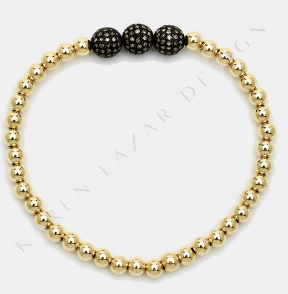4MM Yellow Gold Filled Bracelet with 3 Oxidized Diamond Balls