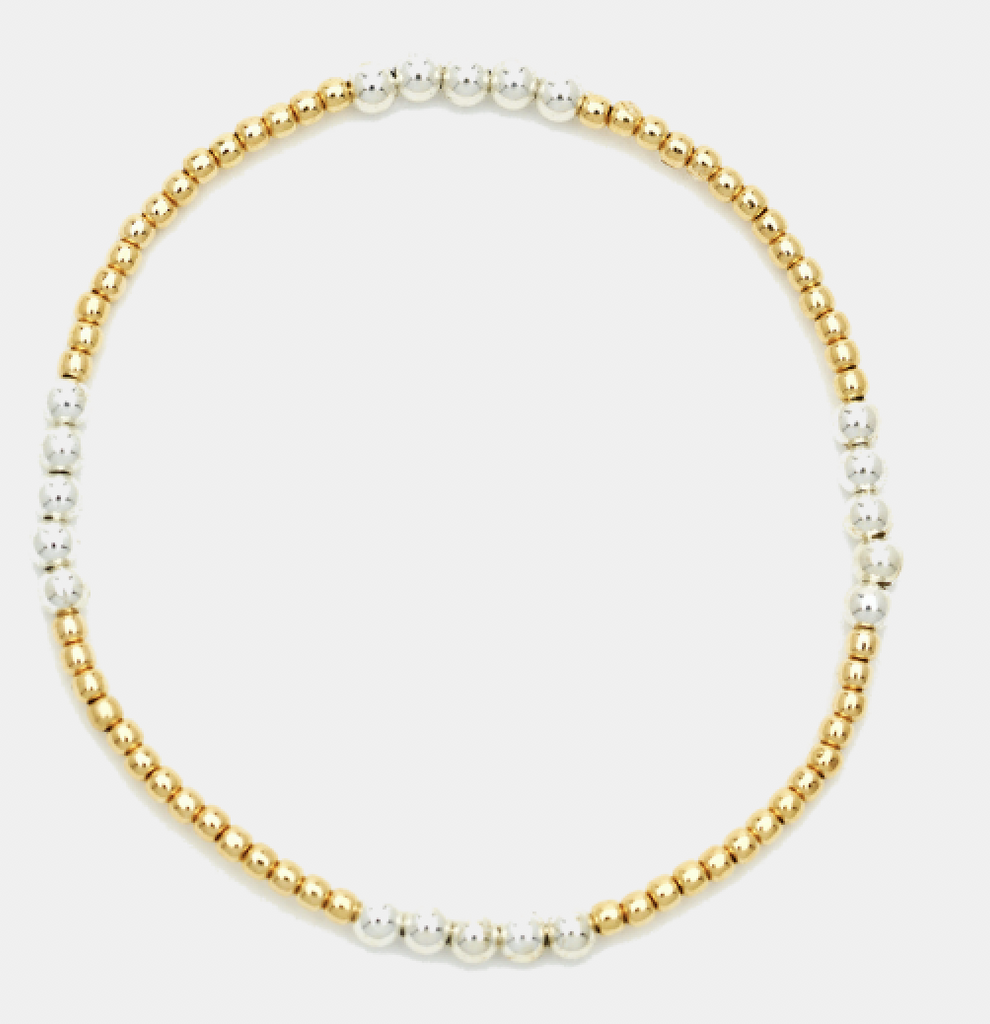2MM Yellow Gold Filled Bracelet with 3MM Sterling Silver