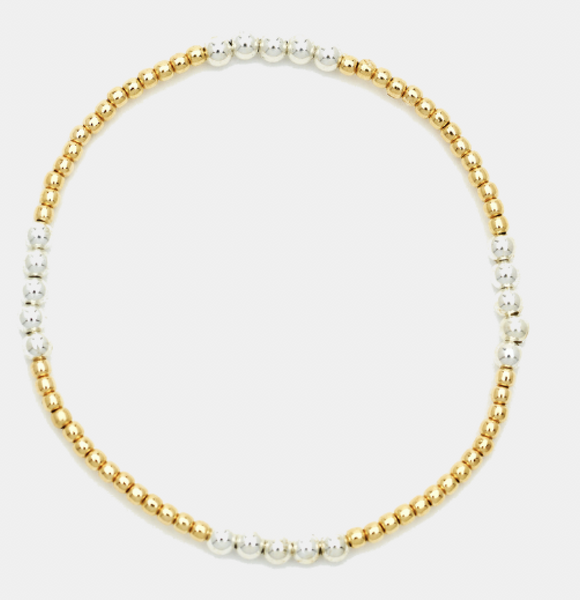 Small 2mm Yellow Gold Filled Bracelet w/ 3mm Sterling Silver