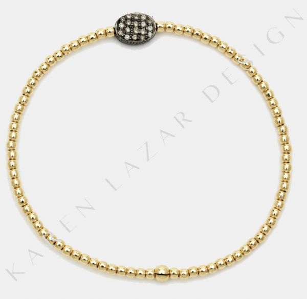 2MM Yellow Gold Filled Bracelet with Sterling Silver Oxidized Diamond Bean