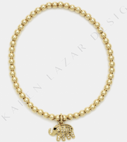 3MM Yellow Gold Filled Bracelet with Diamond Elephant Charm