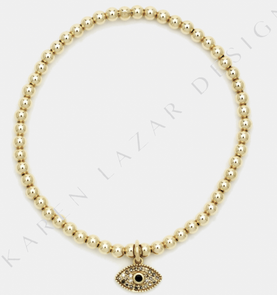 3MM Yellow Gold Filled Bracelet with 14K Gold and Diamond Evil Eye Charm
