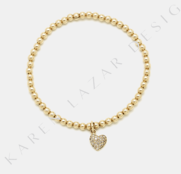 3MM Yellow Gold Filled Bracelet with 14K Diamond Heart Charm