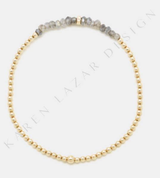 2MM Yellow Gold Filled Bracelet with Labradorite and 14K Rondel
