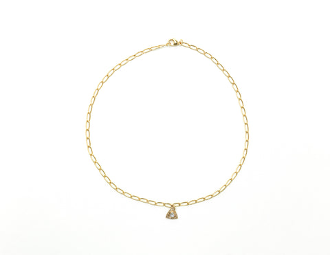 14K Yellow Gold Chain with Diamond Triangle Charm Necklace