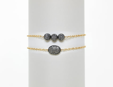 14K Yellow Gold Chain with 3 Sterling Silver Oxidized Diamond Balls
