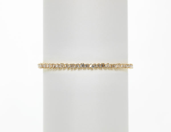14K Yellow Gold Small Diamond Baguette Bangle