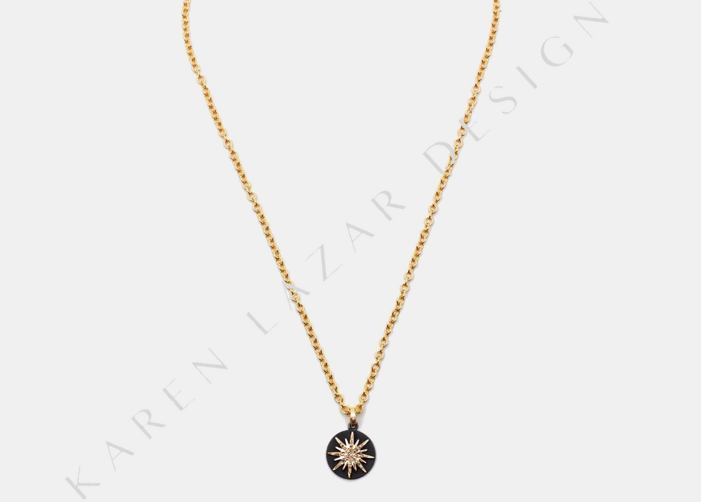 14K Yellow Gold Chain with Oxidized Disk and 14K Pave Diamond Starburst