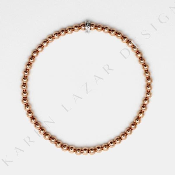 3MM Rose Gold Filled Bracelet with 14k Gold Diamond Rondelle
