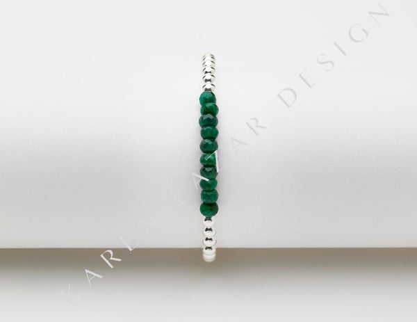 4MM Sterling Silver Filled Bracelet with Emerald