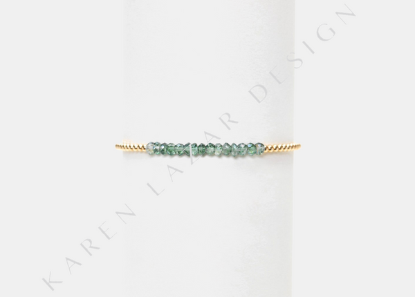 2MM Yellow Gold Filled Bracelet with Green Topaz