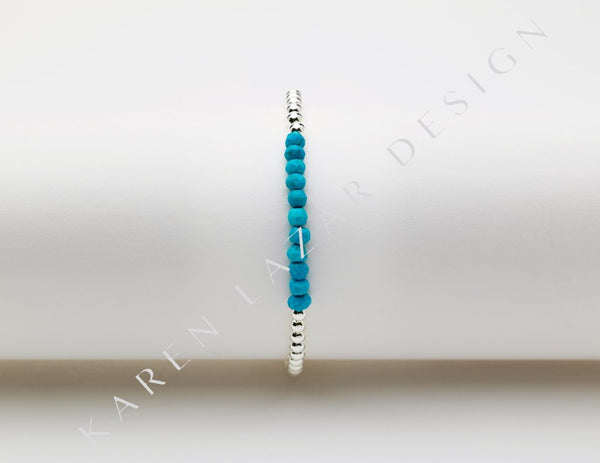 Kids 3MM Sterling Silver Filled Bracelet with Turquoise