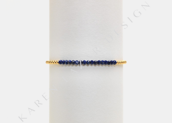 Kids 2MM Yellow Gold Filled Bracelet with Lapis