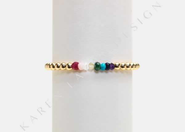 Kids 4MM Yellow Gold Filled Bracelet with Rainbow Pattern