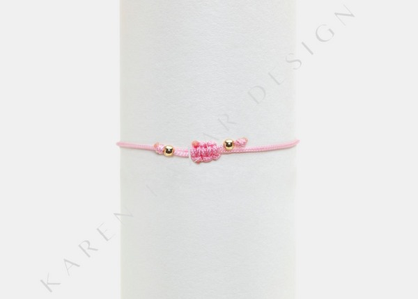 Kids Pink Silk with Yellow Beads