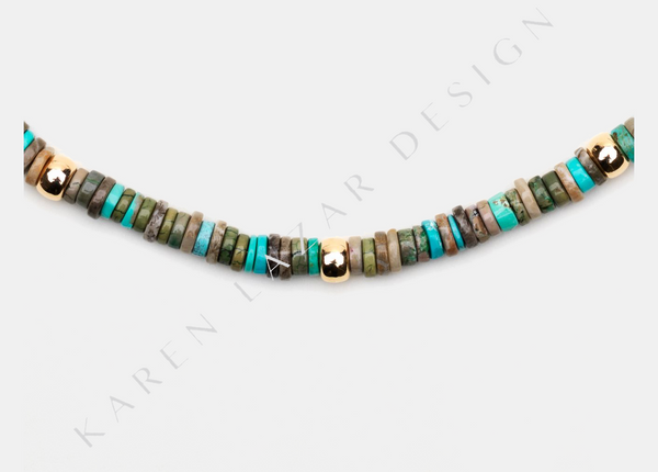 Multi Turquoise Necklace with Yellow Gold Filled Bead Pattern