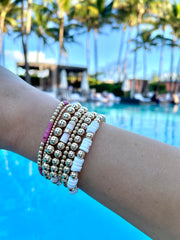 5mm Yellow Gold filled bracelet with Light Pink Heishi Rondelle Pattern