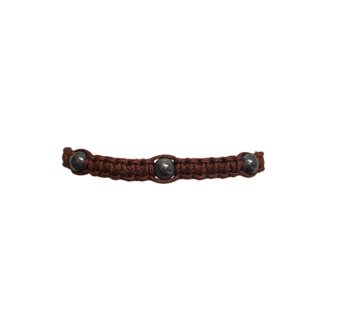 Men's Chocolate Macrame Bracelet with Oxidized Sterling Silver Filled Beads