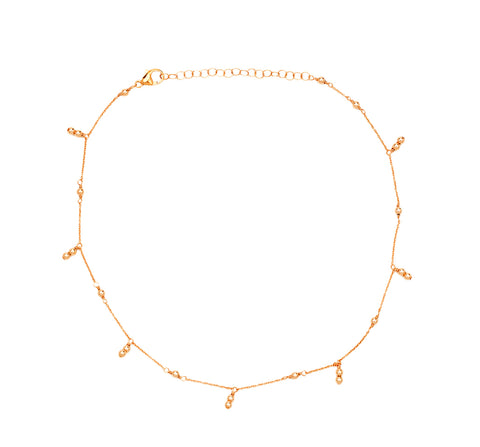Rose Gold Necklace with Ball and Chain