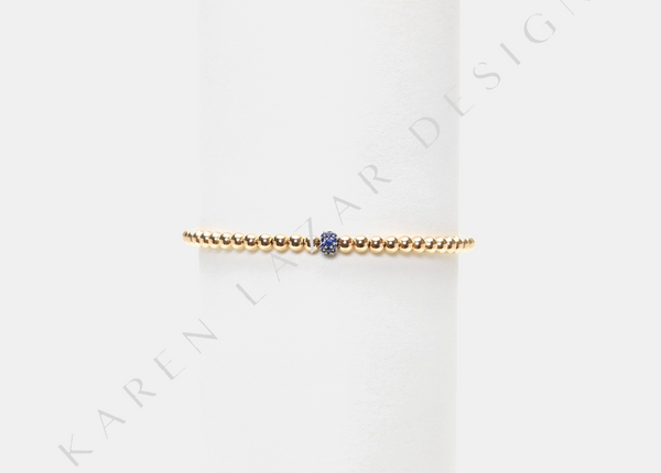 3MM Yellow Gold Filled Bracelet with 14K Blue Sapphire