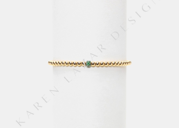 3MM Yellow Gold Filled Bracelet with 14K Green Sapphire