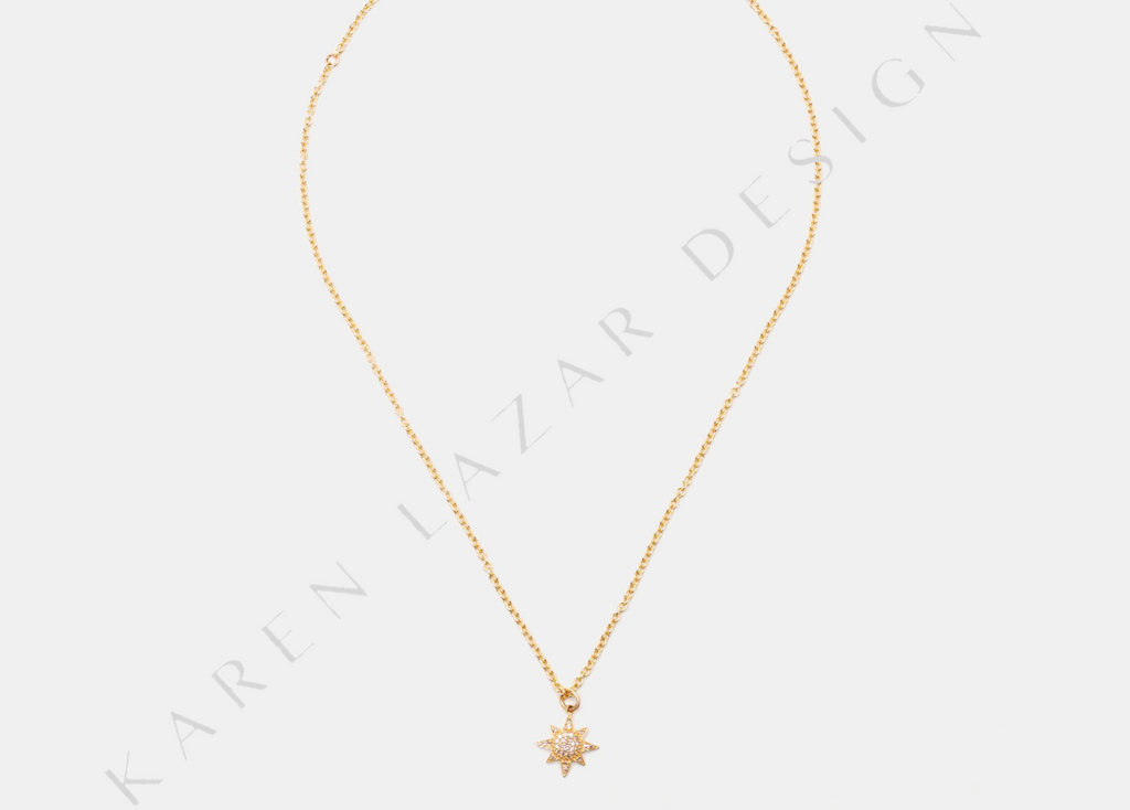 14K Yellow Gold Chain with Pave Diamond Star