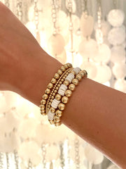 5mm Yellow Gold filled bracelet with White Heishi Gold Pattern