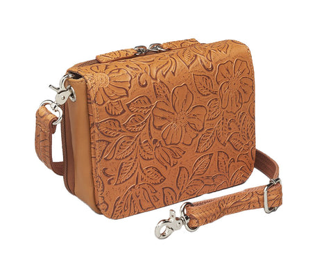 Concealed Carry Tooled Cowhide Organizer Crossbody by Gun Tote'n Mamas
